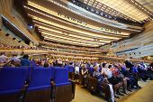 MOSCOW - SEP 30: People came to show Judgment Day on Large hall for presentations at the Kremlin Pal