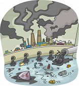 foto of water pollution  - Illustration of Water and Air Pollution - JPG
