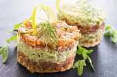 stock photo of tatar  - tatar with salmon and avocado - JPG