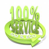 3D Render Of A Environmental Service Sign  A 100 Percent Eco