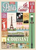 stock photo of glass heart  - Typographical Retro Style Poster With Paris Symbols And Landmarks - JPG