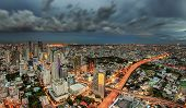 Bangkok City At Dusk And Transportation