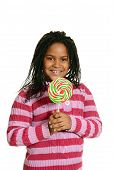 pic of cornrow  - isolated little black girl with big lollipop on white background - JPG