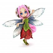 image of faerie  - Cute toon fairy posing on a white background - JPG