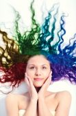 foto of hair dye  - Young woman with long curly hair - JPG