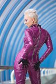 foto of latex woman  - Attractive girl in fashion rubber suit - JPG