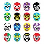 pic of wrestling  - Vector icons set of masks worn during wrestling fights in Mexico isolated on white - JPG