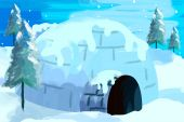 picture of igloo  - Digital image of an igloo with a beautiful surrounding - JPG