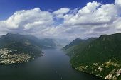 picture of salvatore  - view of Lugano lake from Monte San Salvatore Switzerland
