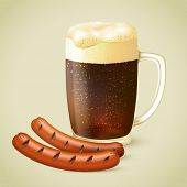 foto of porter  - Glass mug of cold dark porter stout beer with froth and grilled sausage emblem vector illustration - JPG