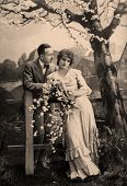 stock photo of edwardian  - Portrait of a victorian man and his wife - JPG