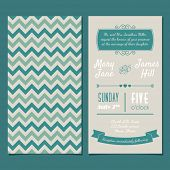 image of zigzag  - Vector Vintage Invitation card with background zigzag - JPG