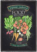 stock photo of chalkboard  - Chalkboard organic natural food - JPG