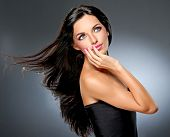 pic of flowing hair  - Model with flying hair and trendy makeup - JPG