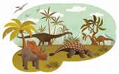 image of ankylosaurus  - Vector illustration of world of dinosaurs  - JPG