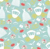 picture of wedding feast  - Vintage wedding symbols in seamless pattern set - JPG