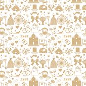 image of wedding feast  - Vector Wedding elements in seamless pattern in retro style - JPG