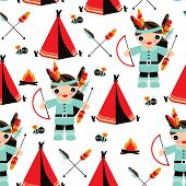 pic of teepee  - Seamless indian boys with feather arrow illustration background pattern in vector - JPG