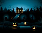 image of scary haunted  - Blue scary Halloween haunted house background - JPG