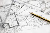 picture of mechanical drawing  - New house sketch drawing with pencil and compasses - JPG