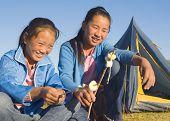 image of mongolian  - Mongolian Two siters anjoy camping - JPG