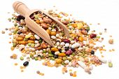 stock photo of legume  - Assorted legumes in wooden scoop - JPG