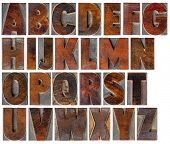 image of wood craft  - a complete English uppercase alphabet  - JPG