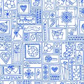 picture of blue-bell  - Blue seamless Christmas and New Year pattern with bells - JPG