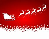 image of sleigh ride  - Santa Claus rides in a sleigh reindeer on red background with snowflakes - JPG