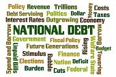 National Debt word cloud on white background poster