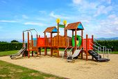 picture of playground school  - Playground and sand with blue sky in sunny day - JPG