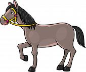 pic of brown horse  - Children vector illustration of funny brown horse - JPG