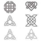 foto of celtic  - Black Celtic Endless Knot isolated on white background - JPG