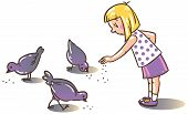 picture of child feeding  - Children vector illustration of girl feeding pigeons in the yard - JPG