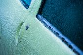 pic of sleet  - Frozen car door in winter - JPG
