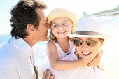 picture of 35 to 40 year olds  - Portrait of happy family at the beach - JPG