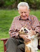 pic of bench  - Old man playing with his dog on bench in garden - JPG