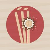 picture of cricket ball  - Sticker or label with ball hitting by wicket stump for cricket sports concept stylish background - JPG
