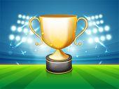 picture of cricket shots  - Golden winning trophy - JPG