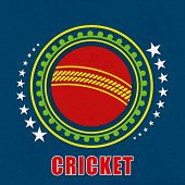 image of cricket ball  - Badge design with red cricket ball and stars on grungy blue background - JPG