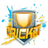 stock photo of cricket  - Winning golden trophy for cricket with 3D shiny Cricket text on color splash background - JPG