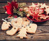 stock photo of christmas cookie  - Christmas cookies handmade lies on wooden background - JPG