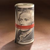 pic of gag  - Money roll with elastic gagging the mouth of Alexander Hamilton - JPG