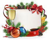foto of winterberry  - Christmas wreath with baubles parchment and glass of champagne on a white background - JPG