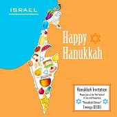 stock photo of sukkot  - illustration of holy object forming map of Israel in Hanukkah background - JPG