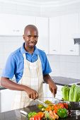 happy man in kitchen