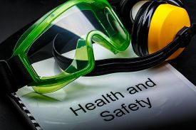 foto of personal safety  - Health and safety register with goggles and earphones - JPG