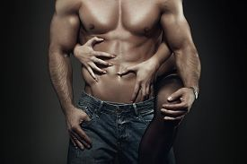 picture of intimate  - Sexy young couple body at night woman embrace man abs - JPG