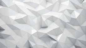 stock photo of triangular pyramids  - White abstract rumpled triangular surface - JPG