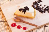 picture of custard  - cheese custard cake and cup of coffee on wood - JPG